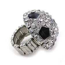 Soccer Sports Ring High Polish Silver Tone Black Enamel Adjustable Band Charm c1