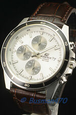 Casio Edifice Mens Analog EFR-526L-7 White Leather Watch 100% Original & Gift