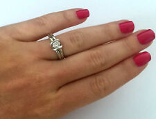 Stone Engagement Womens Ring Size 7 Signed Boma 925 Sterling Silver Clear