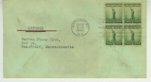 FOR DEFENSE FDC 1940 No Cachet Cover Scott 899 1c Block Of 4 Stamps S1