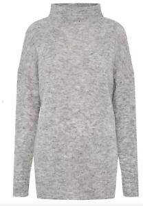Whistles Funnel Neck Mohair Blend Longline Grey Lounge Jumper *BARELY USED* £160
