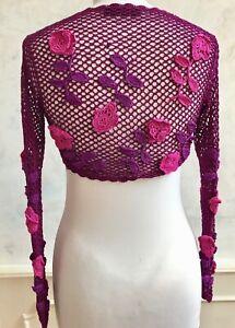 KAREN MILLEN Pink Purple Floral Crochet Knitted Shrug Crop Shawl Cardi Top  XS 6