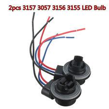 Pair 3157 4157NA Bulb Socket Brake Turn Signal Light Harness Wire LED Tail Plug