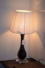 LAMPE DE CHEVET BUREAU EN VERRE NOIRE ET BLANC DECO LOFT DESIGN SHABBY
