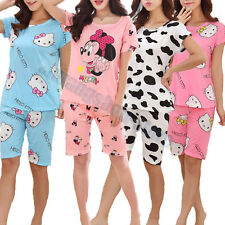 Ladies Girls Cute Fun Nightwear Pyjamas Short Sleeve Mickie Minnie Shorts PJ Set