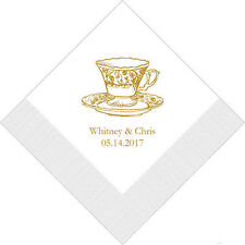500 Vintage Tea Cup Personalized Wedding Luncheon Napkins