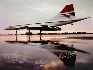 CONCORDE HAND SIGNED 16X12 PHOTOGRAPH AT FILTON 1975 SIGNED BY TEST PILOT