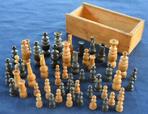 Vintage German wooden chess piece set + Box MIX