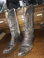 Laramie Hand Made Mens Cowboy Western Boots Brown Leather Size 9.5 Us