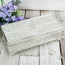 Personalised Silver Plated Antique Jewellery Box-Engraved Free- Wedding,Teachers