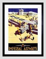 TRAVEL IMPERIAL AIRWAYS RETRO AEROPLANE PROPELLOR UK FRAMED PRINT B12X11415