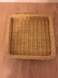 Square Flat Natural Wicker Basket