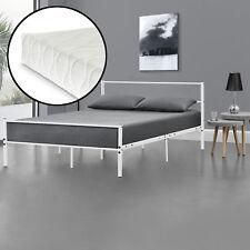 en.casa® Metallbett 140x200cm Weiß mit Matratze Design Bett Schlafzimmer Metall
