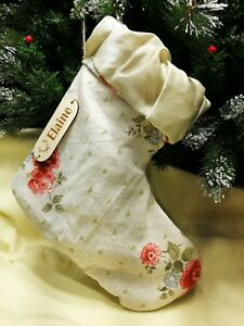 Handmade PERSONALIZED CHRISTMAS STOCKING Vintage Shabby Chic Lining Wooden Tag