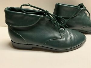 PRIMA ROYALE LEATHER ANKLE BOOTS BOOTIES GREEN LACE-UP WOMEN'S - SIZE 7 1/2 M