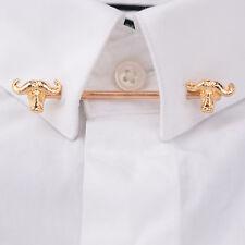 Gold Oxhead Shirt Collar Bar Clip Mens Tie Bar Lapel Pin