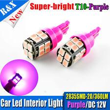 2 X T10 W5W Purple 194 LED 2835 SMD 20LEDs Car Side Wedge Light Bulb DC12V 360LM