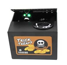 My Black Skull Trick or Treat Electronic Coin Piggy Bank Eats & Saves Money Box