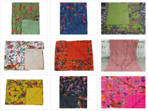 Bird And Flower Design Kantha Bedspread Reversible Bohemian Kantha Blanket Quilt