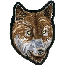"Hot Leathers, WOLF HEAD FACE BIKER, EMBROIDERED Iron-On / Saw-On, PATCH, 8""x11"""