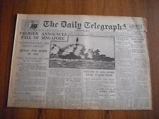 WW2 WARTIME NEWSPAPER - DAILY TELEGRAPH - FEBRUARY 16th 1942
