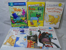 STEP INTO READING * 7 Book Lot * Pete the Cat - Trolls - Biscuit - Splat - PB
