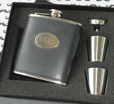 Personalized Black Leather Flask Set - Groomsman gift, Best man gift