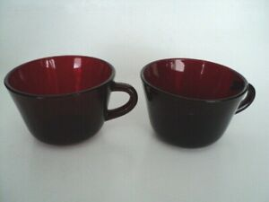 2 Royal Ruby Red cup Flat bottom