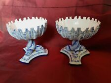 Pair of Royal Worcester Shell Dishes on Dolphin Stands Circa 1870