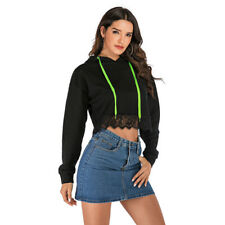 Womens Lace Sweatshirt Hooded Pullover Crop Tops Athletic Casual Loose Outwear