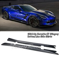 For 14-Up Corvette C7 Stingray Bottom Line Side Skirts Rocker Panel ABS Plastic
