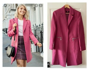 MARKS AND SPENCER M&S RASPBERRY PINK WOOL MIX COAT UK 8 36 HOLLY WILLOUGHBY