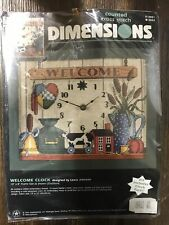 """Vintage 1997 DIMENSIONS Welcome Clock 10""""X8"""" Frame Size Counted Cross Stitch"""