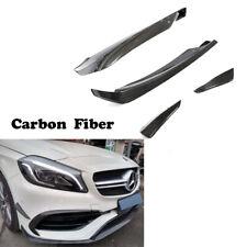 Front Fins Splitter 16-18 For Mercedes Benz W176 A200 A45 AMG Carbon Fiber 4PCS