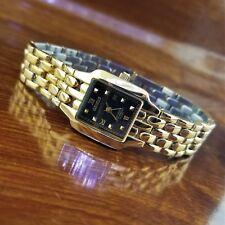 Womens Geneve Swiss Rectangle 18K Gold Plated All Steel Bracelet Watch 165' WR