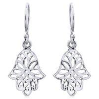 Silver earrings 925 Sterling Lotus Flower with Hand Of Hamsa Spiritual Symbols