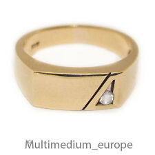 Herren Ring 375 Gold Ring weißer Stein 9ct 9k men's gents white stone