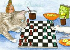 ACEO art print Cat 358 mouse chess game from funny original painting L.Dumas