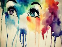 Painting Watercolour Liquid Portriat Eyes Face Weird Canvas Art Print