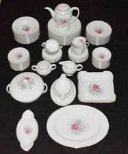 Rosenthal Dish Set Gray Dawn Rose Design Silver Trim (81 pc)