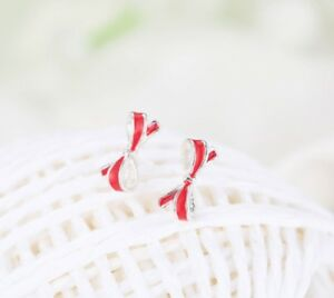 925 Sterling Silver Ear Studs Earrings Gift Bow Red