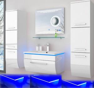 Badmöbel Set schwarz oder weiss hochglanz Kosmetik Desgin Badezimmermöbel LEDUhr