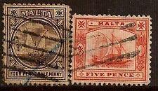 MALTA 1899 OLD SHIP SC # 15-16 USED
