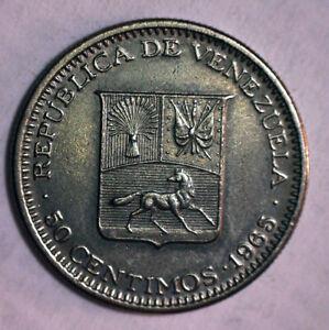 1965 REPUBLICA DE VENEZUELA,50 CENTIMOS-LIBERTADOR BOLIVARCOIN-RARE