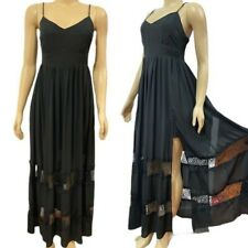 bebe Lace Inset Panels Long Maxi Dress Black
