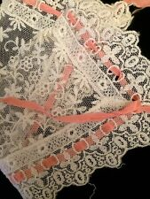 Vintage Lace Insertion Pink Ribbon Salvage Fragments Bonnet Sewing Doll Clothes