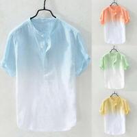 Men Causal Shirt Cotton Linen Short Sleeve Button T-Shirt Top Breathable Blouse