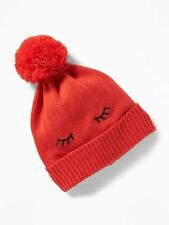 Old Navy Toddler Pom Pom Beanie- Eyes Graphic- Red- L- NWT