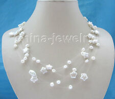 "P4826 - 18"" 5row 6-7-11-12mm natural white freshwater pearl necklace"