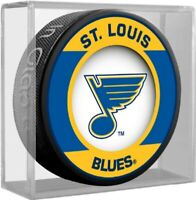 St. Louis Blues NHL Retro Team Logo Souvenir Hockey Puck in Display Cube